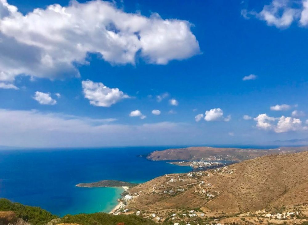 The beautiful coastline of Andros