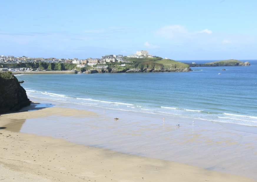 The long sandy beaches in Newquay