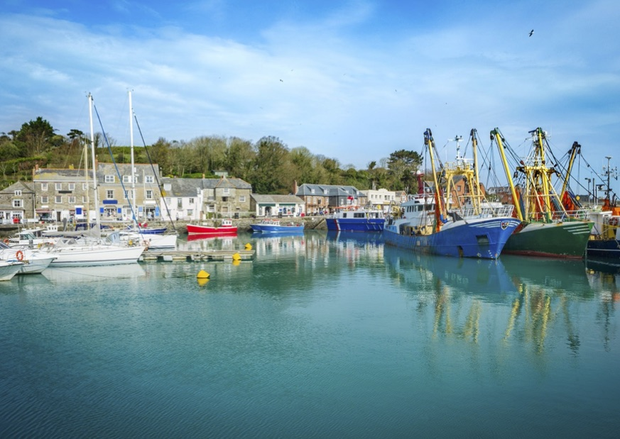 The charming Padstow Harbour in Cornwall