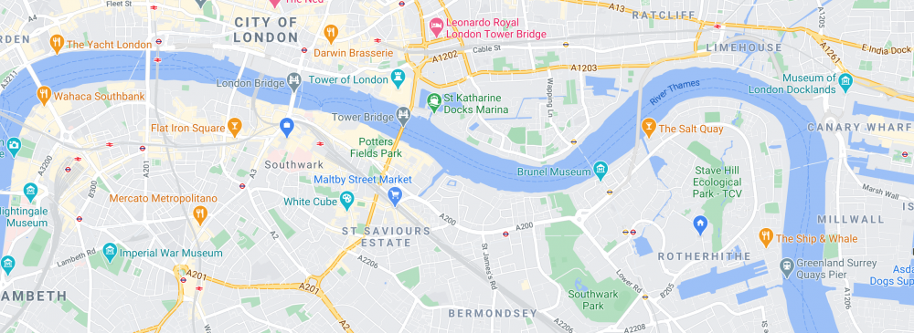 Map of Rotherhithe area