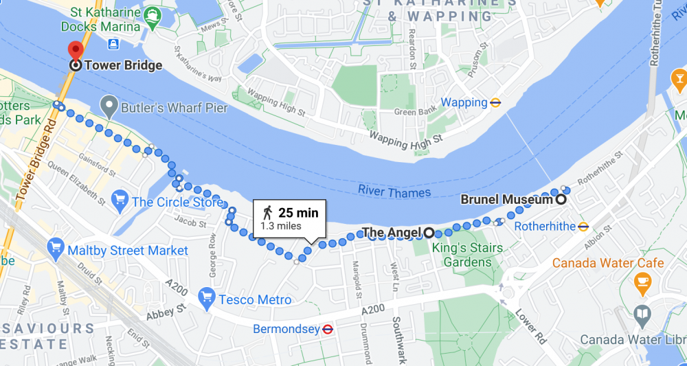 Map showing walking route from London Bridge to Rotherhithe