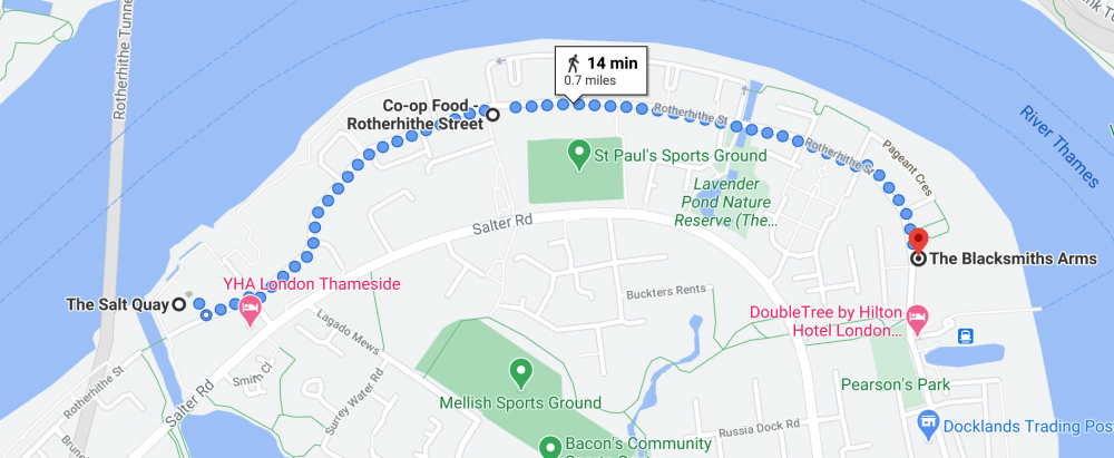 Map showing the walk between the Salt Quay to The Blacksmiths Arms