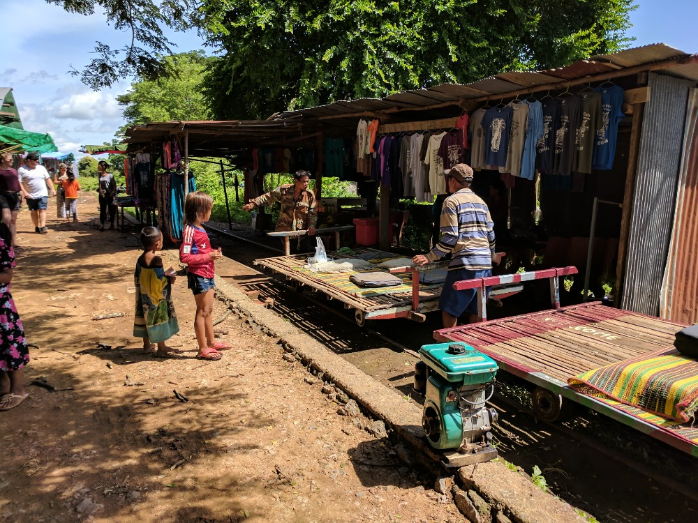 The bamboo train station in Battambang