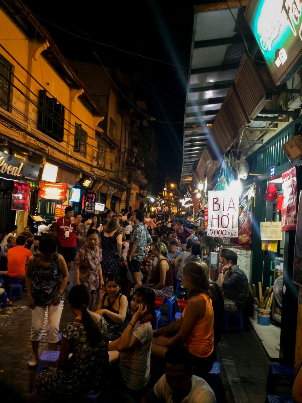 Drinking in the streets in Hanoi