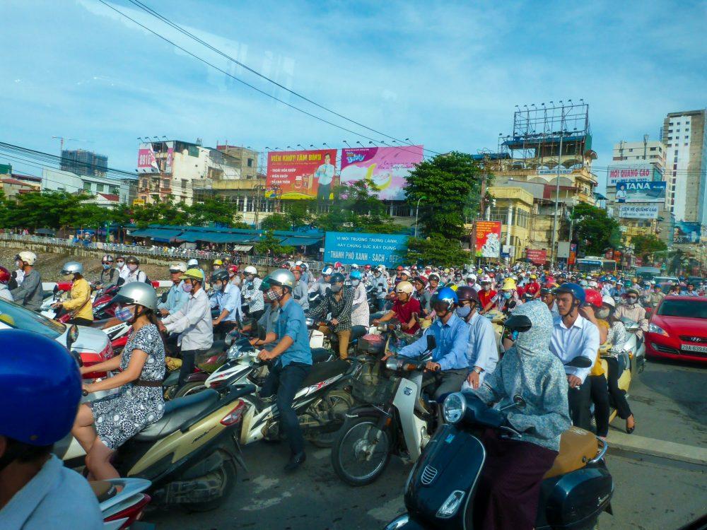 Scooters raring to go in Hanoi, Vietnam