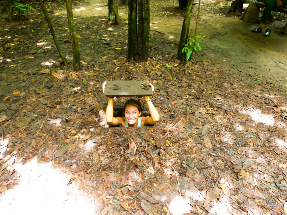 Exploring the Cu Chi tunnels in Vietnam