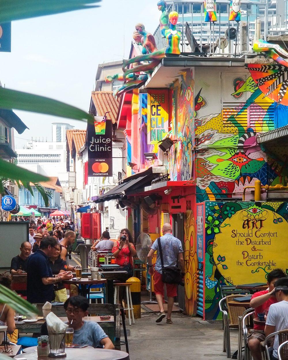 Colourful street art in Haji Lane