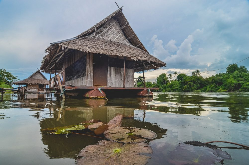 Floating guesthouses on the River Kwai