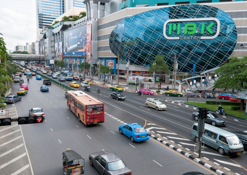 Transport outside the MBK Centre in Bangkok, one of the best Places to Visit in Thailand