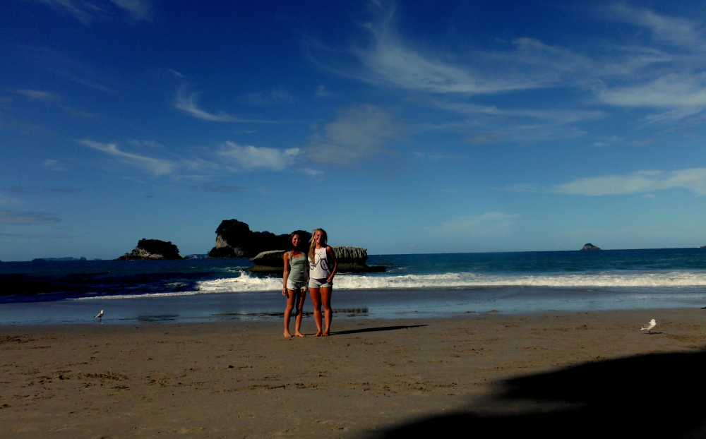 Exploring the beautiful beach at Cathedral Cove