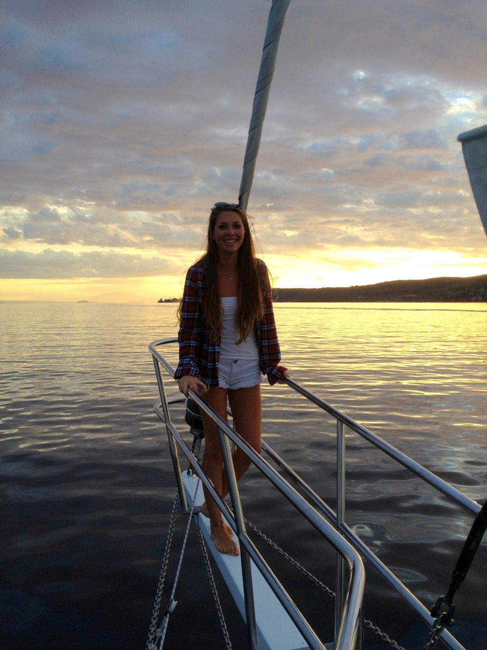 Sailing on Lake Taupō at sunset