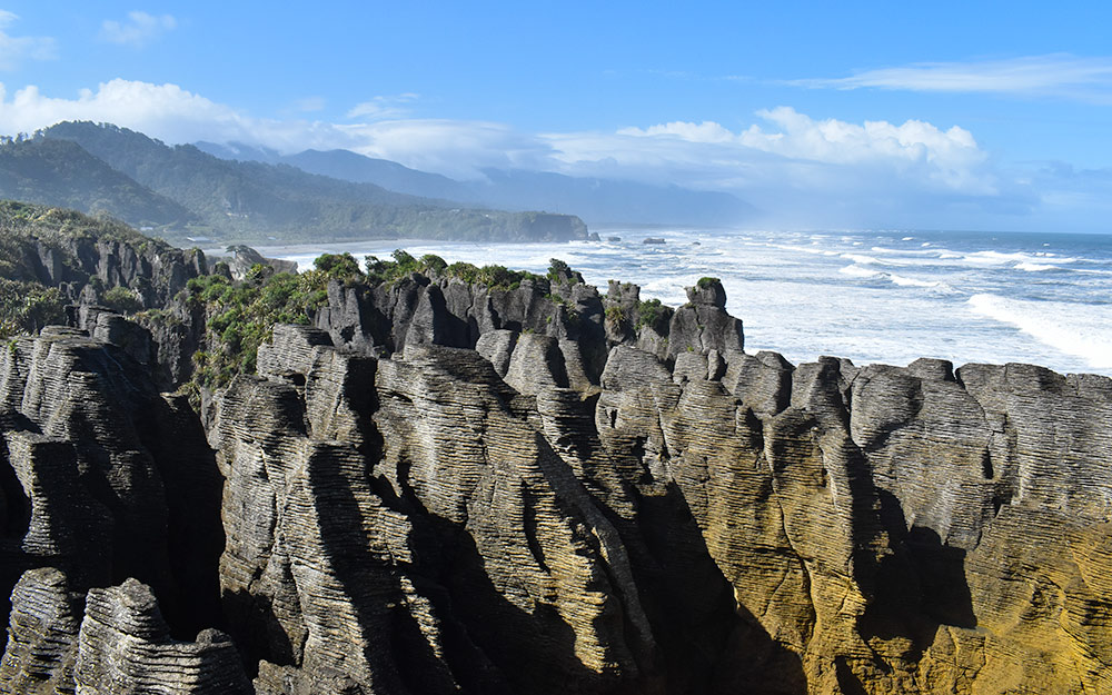 The unusual rock formations at Pancake Rocks